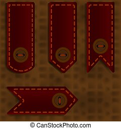 Bookmark with a button on a brown background