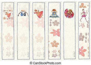 bookmarks, acquarello