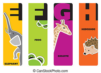 bookmarks - animal alphabet E for elephant, F for frog, G...