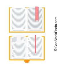 bookmarks, ensemble, isolé, cahier, icônes