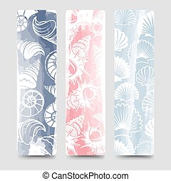 bookmarks, océan, mer, collection, coquilles