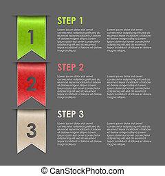 Bookmarks progress steps for tutori