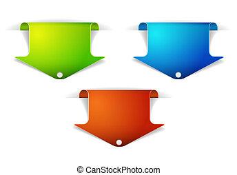 bookmarks, sæt, farverig, pil