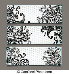 bookmarks, set, elegante, ornamenti, paisley