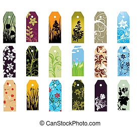 bookmarks set - Set of different vector floral bookmarks for...