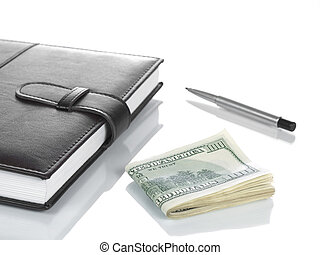 booknote, dollars, and, , pen.