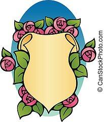 bookplate, rosas