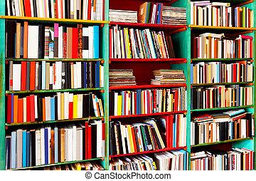 Angle shot of book rack with big collection