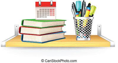 books, карандаш, календарь, вектор, коробка