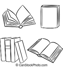 books., ベクトル, illustration.