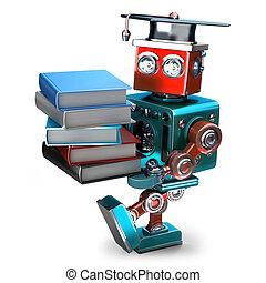 books., ロボット, isolated., ∥含んでいる∥, 山, 型, クリッピング道