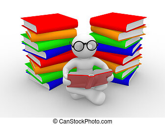 Books - 3d people - men , person and books. Education ...