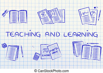 books about different school subjects, with text Teaching and learning