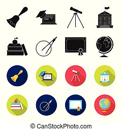 Books, an apple, a compass with a circle, a diploma with a seal, a globe. School set collection icons in black,flet style vector symbol stock illustration web.