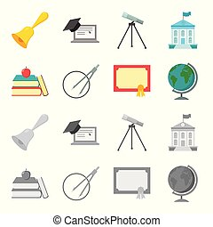 Books, an apple, a compass with a circle, a diploma with a seal, a globe. School set collection icons in cartoon,monochrome style vector symbol stock illustration web.
