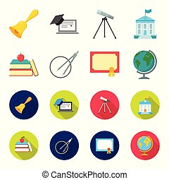 Books, an apple, a compass with a circle, a diploma with a seal, a globe. School set collection icons in cartoon,flat style vector symbol stock illustration web.
