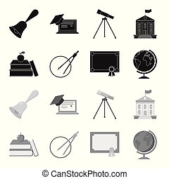 Books, an apple, a compass with a circle, a diploma with a seal, a globe. School set collection icons in black,monochrome style vector symbol stock illustration web.
