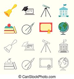 Books, an apple, a compass with a circle, a diploma with a seal, a globe. School set collection icons in cartoon,outline style vector symbol stock illustration web.