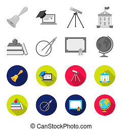 Books, an apple, a compass with a circle, a diploma with a seal, a globe. School set collection icons in monochrome,flat style bitmap symbol stock illustration web.