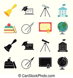 Books, an apple, a compass with a circle, a diploma with a seal, a globe. School set collection icons in black,cartoon style vector symbol stock illustration web.