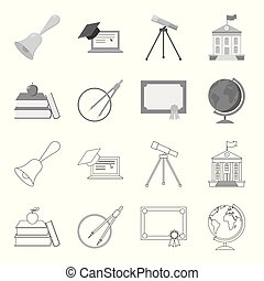 Books, an apple, a compass with a circle, a diploma with a seal, a globe. School set collection icons in outline,monochrome style vector symbol stock illustration web.
