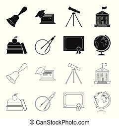 Books, an apple, a compass with a circle, a diploma with a seal, a globe. School set collection icons in black,outline style vector symbol stock illustration web.