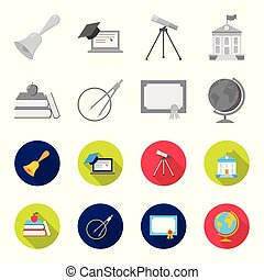 Books, an apple, a compass with a circle, a diploma with a seal, a globe. School set collection icons in monochrome,flat style vector symbol stock illustration web.