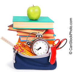 Books, an apple and school tools.