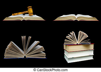 Books and a wooden hammer of the judge on a black background.