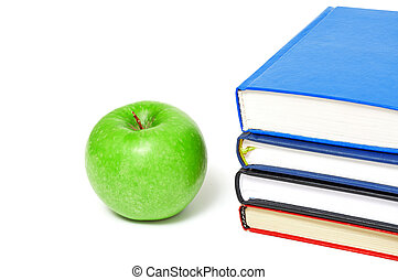 books and an apple