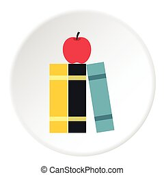 Books and apple icon, flat style