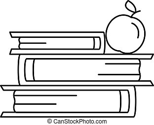 Books and apple icon, outline style - Books and apple icon....