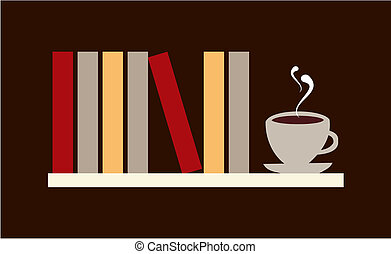 Library shelf with books and cup of coffee. Vector available