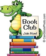 Books and crocodile