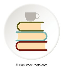 Books and cup of tea icon, flat style