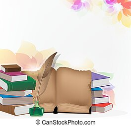 Books and feather on floral background