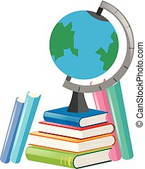 Books and globe on white background