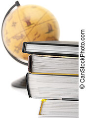 Books and globe