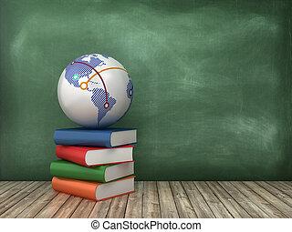 Books and Globe World on Chalkboard Background