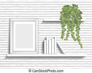 books and houseplant on shelves