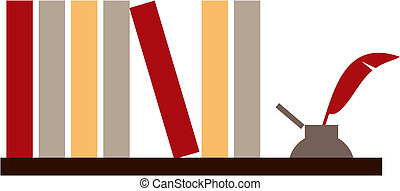 Library shelf with books and inkwell on white background. Vector available