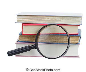 books and looking glass isolated on white background