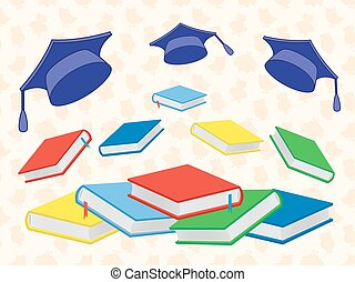 Books and mortar boards on the seamless background -...