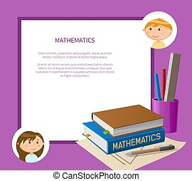 Books and Office, Educational Math Page Vector