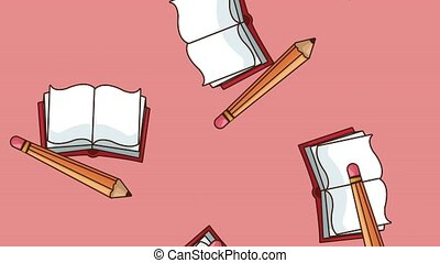 Books and pencils falling HD animation - Books and pencils...