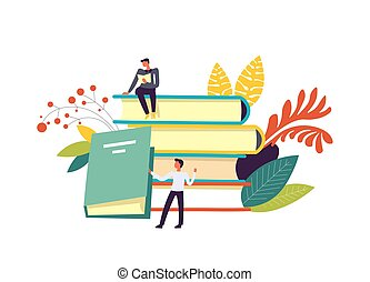Books and people reading publications decor isolated vector