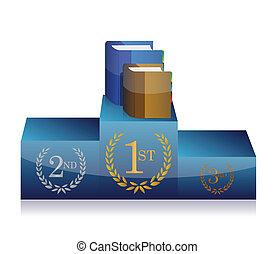 books and podium illustration design over