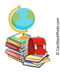 Books and schoolbags on white background