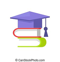 Books and Students Cap Set Vector Illustration - Books and...