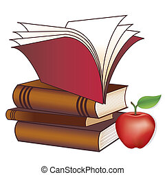 Stack of books, apple for the teacher, copy space, isolated on white, for education, back to school, literacy projects, scrapbooks. EPS8 compatible.